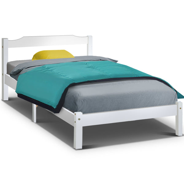King Single Wooden Bed Frame - White - Factory Direct Oz