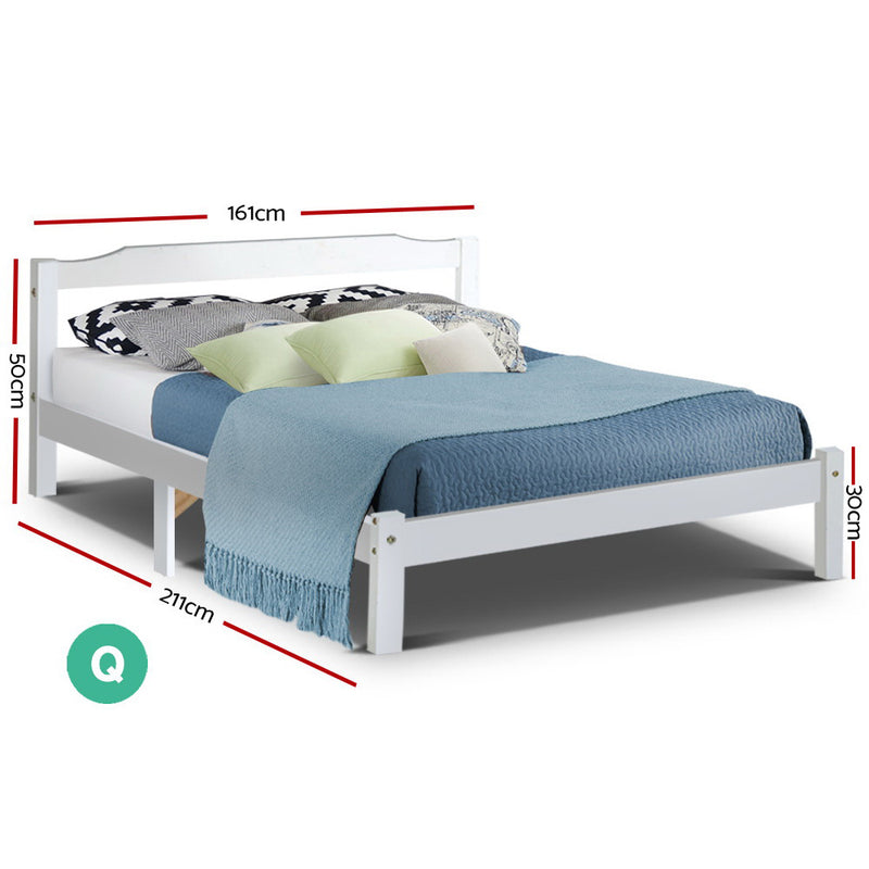 Queen Wooden Bed Frame - White - Factory Direct Oz