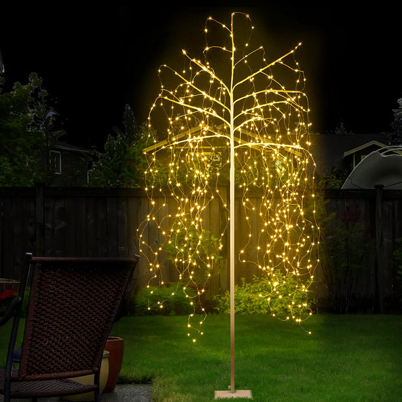 Jingle Jollys 2.1M 600 LED Christmas Willow Tree - Warm White - Factory Direct Oz