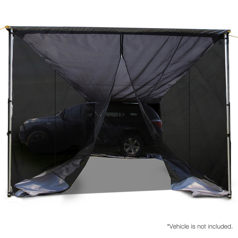 Car Shade Awning & Mesh Screen 2.5 x 3m - Grey - Factory Direct Oz