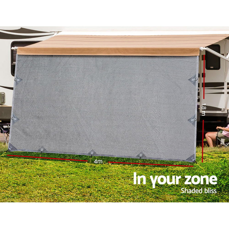 Caravan Privacy Screen 4 x 1.8m - Grey - Factory Direct Oz