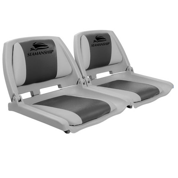 Seamanship Set of 2 Folding Swivel Boat Seats - Grey & Charcoal - Factory Direct Oz