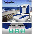 Seamanship Set of 2 Folding Swivel Boat Seats - Grey & Blue - Factory Direct Oz