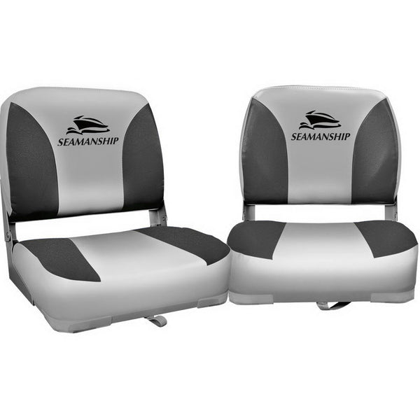 Seamanship Set of 2 Folding Swivel Boat Seats - Grey - Factory Direct Oz