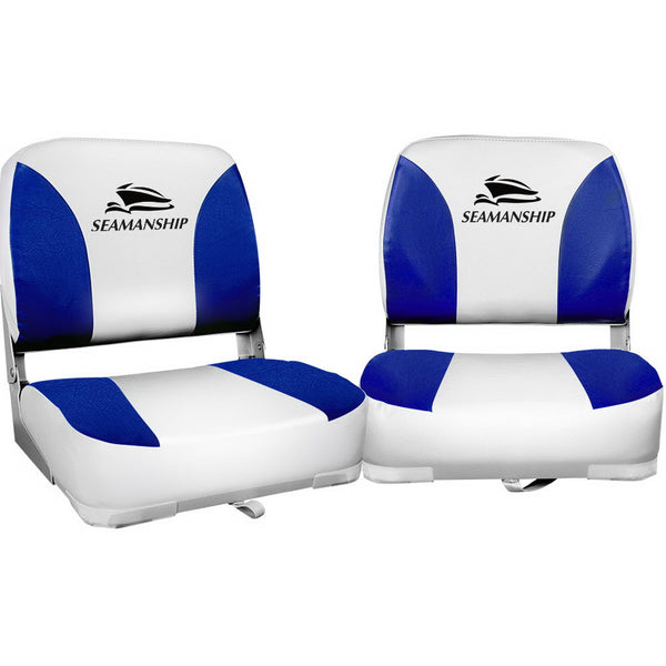 Seamanship Set of 2 Folding Swivel Boat Seats - White & Blue - Factory Direct Oz