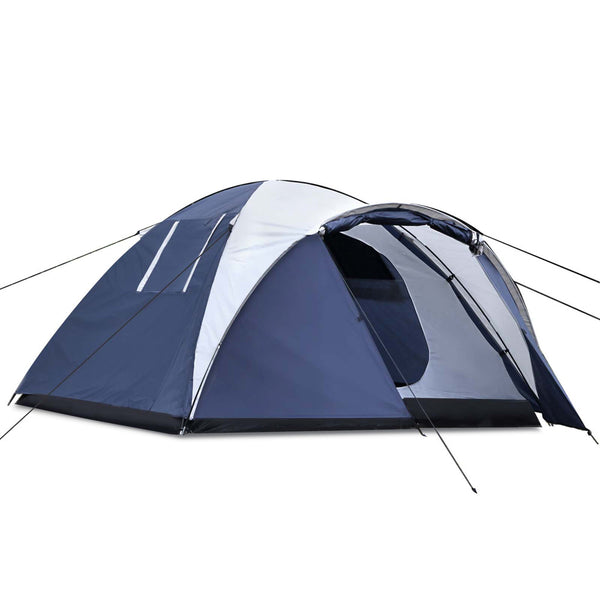 Weisshorn 4 Person Canvas Dome Tent - Navy & White - Factory Direct Oz