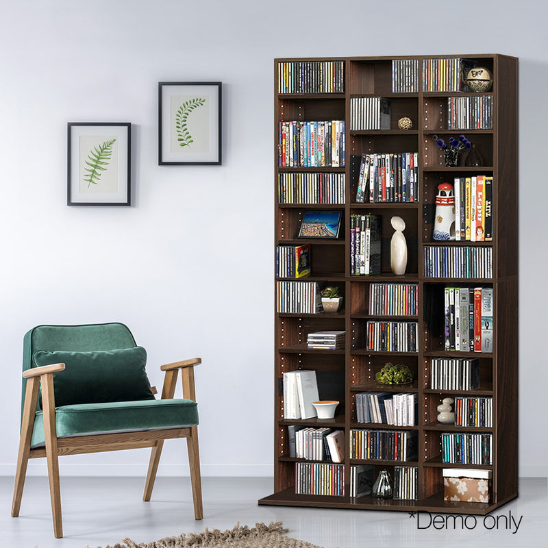 Artiss Adjustable Book/CD Shelf - Expresso - Factory Direct Oz