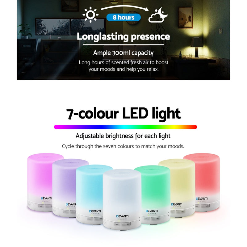 DEVANTi 300ml Aroma Diffuser Night Light - White - Factory Direct Oz