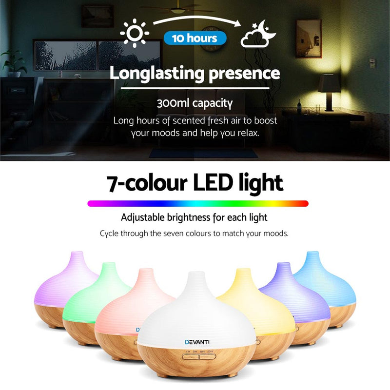 DEVANTi 300ml Aroma Diffuser with Night Light - Factory Direct Oz