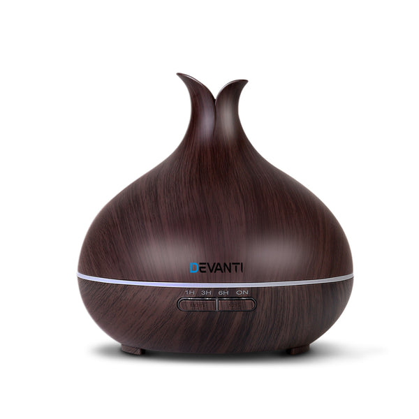 DEVANTI 400ml Aroma Diffuser - Dark Wood Grain - Factory Direct Oz