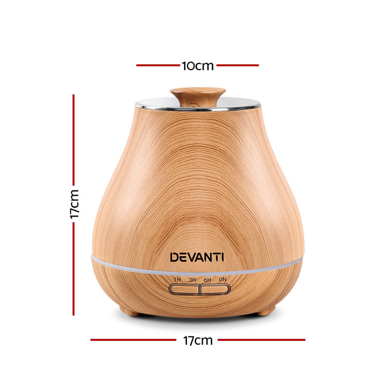 DEVANTi 400ml Aroma Diffuser - Light Wood Grain - Factory Direct Oz