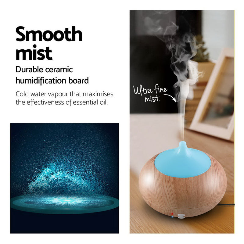 4 in 1 Aroma Diffuser 300ml - Light Wood - Factory Direct Oz