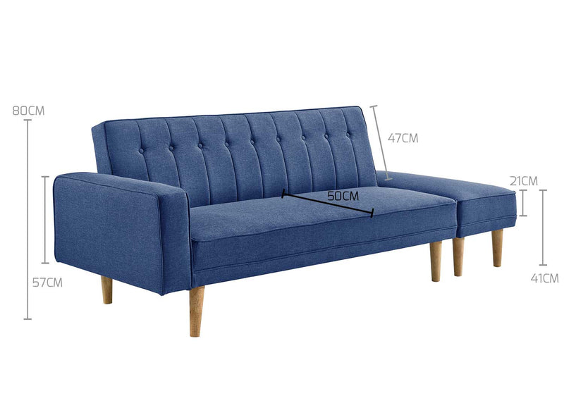 3 Seater Fabric Sofa Bed with Ottoman - Blue - Factory Direct Oz