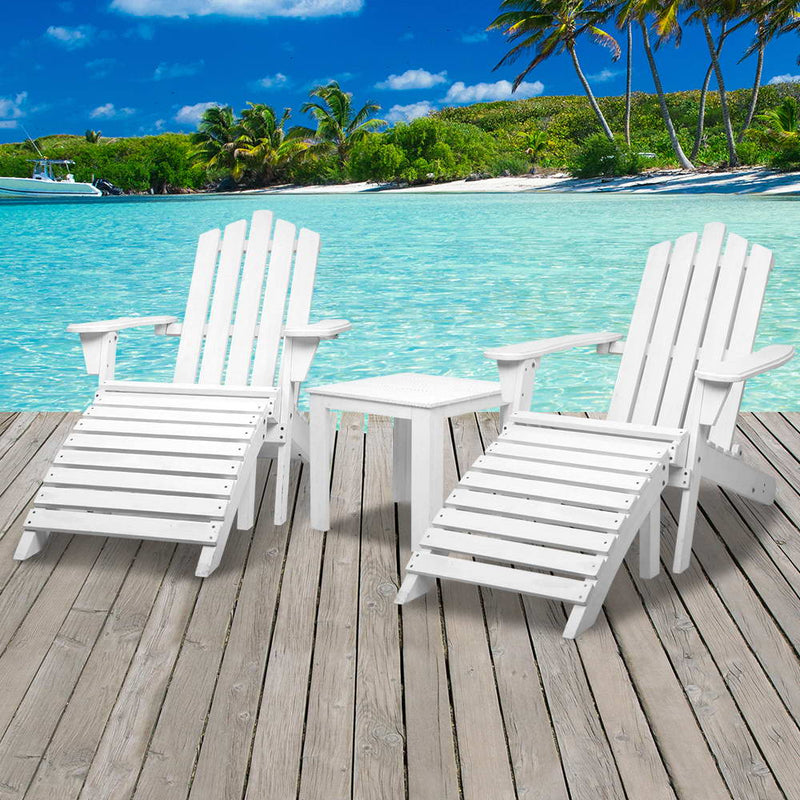 Gardeon 5 Piece Wooden Adirondack Beach Chair and Table Set - White - Factory Direct Oz