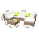 Gardeon 7 Piece PE Wicker Outdoor Furniture Set - Brown - Factory Direct Oz