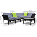 6 Piece Outdoor Wicker Sofa Set - Black - Factory Direct Oz