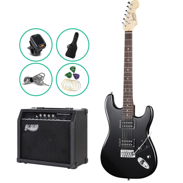 ALPHA Electric Guitar Black with Carry Bag - Factory Direct Oz