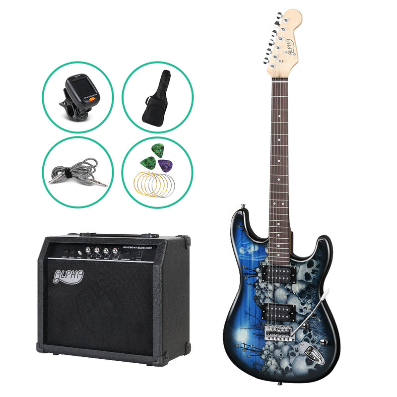 ALPHA Electric Guitar Black and Blue with Carry Bag - Factory Direct Oz
