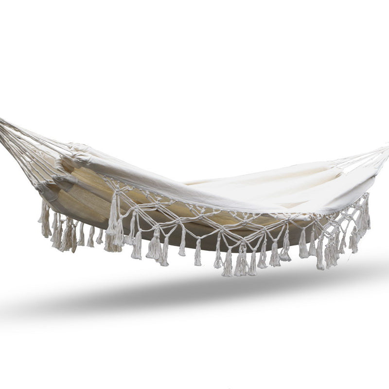 Gardeon Tassel Hammock Swing - Cream - Factory Direct Oz