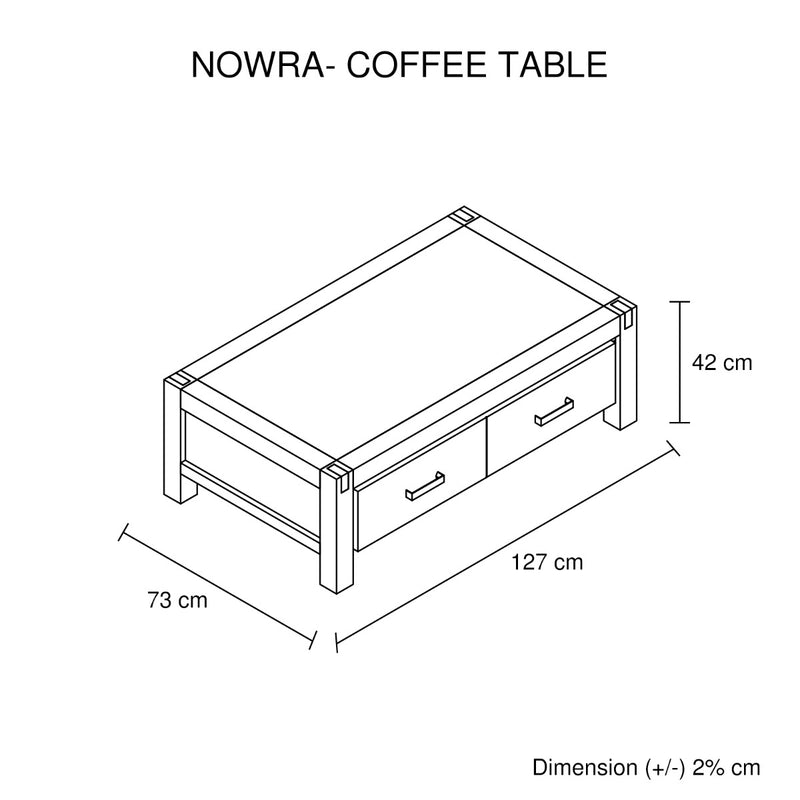 NOWRA 2 Drawer Coffee Table - Factory Direct Oz
