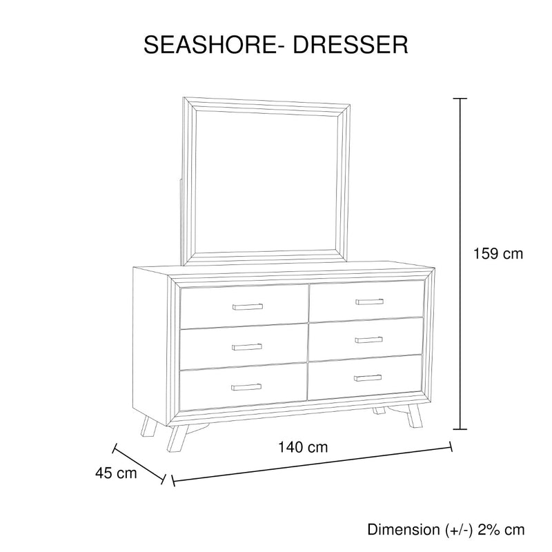 Seashore 6-Drawer Dresser - Factory Direct Oz