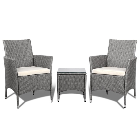 Surprising 3 Piece Outdoor Wicker Chair Side Table Set Grey Andrewgaddart Wooden Chair Designs For Living Room Andrewgaddartcom