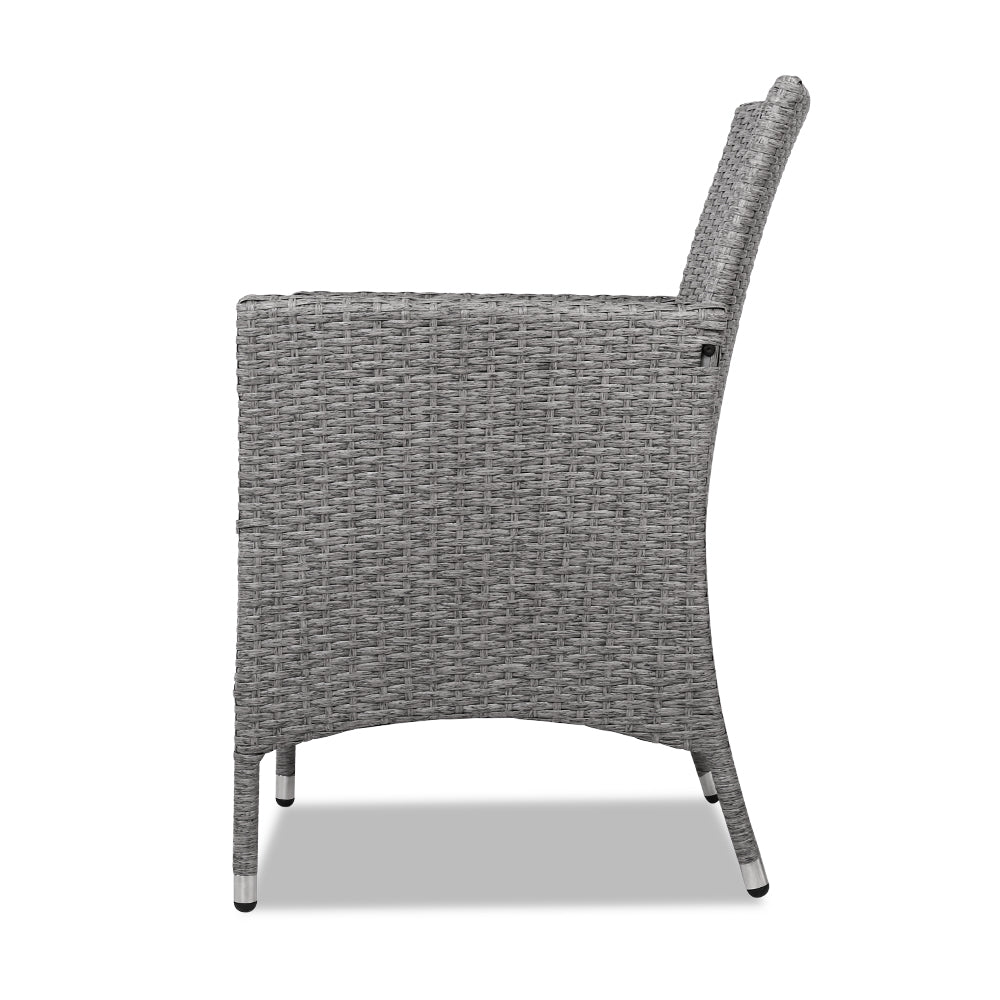 Terrific 3 Piece Outdoor Wicker Chair Side Table Set Grey Andrewgaddart Wooden Chair Designs For Living Room Andrewgaddartcom