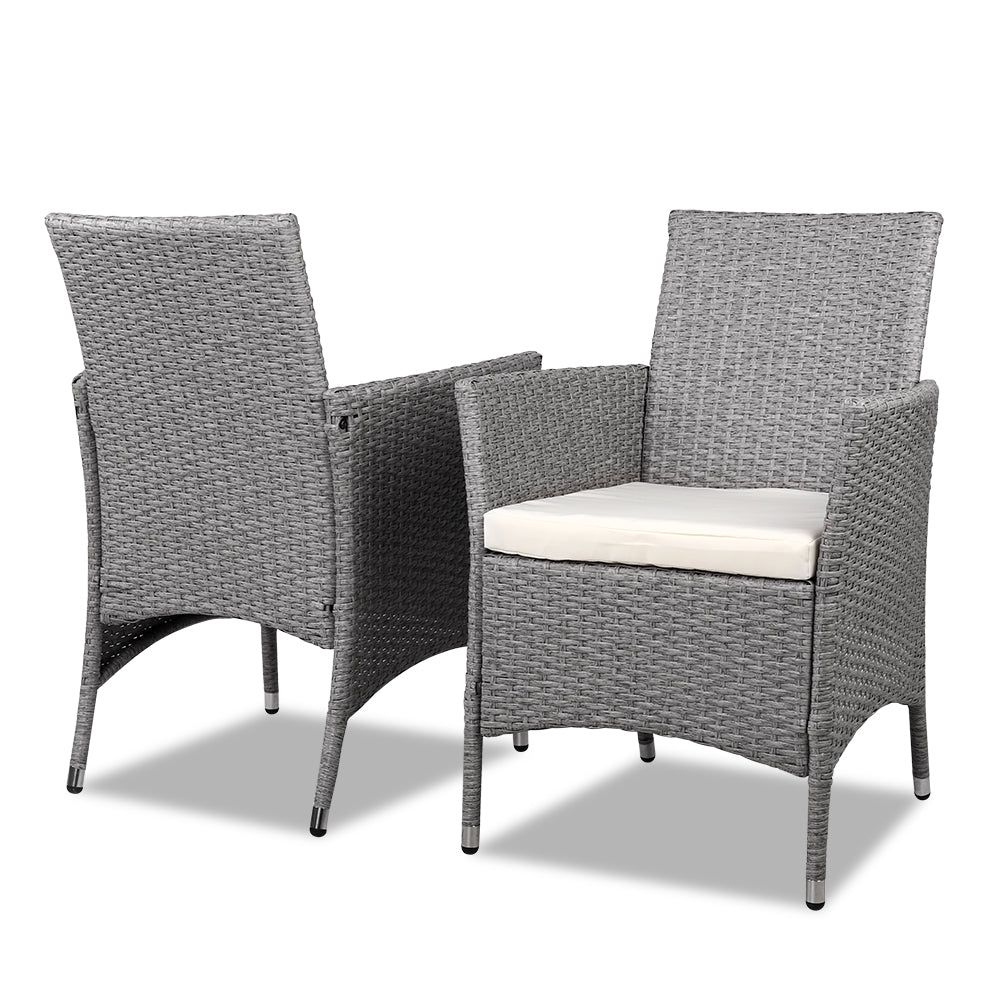 Peachy 3 Piece Outdoor Wicker Chair Side Table Set Grey Andrewgaddart Wooden Chair Designs For Living Room Andrewgaddartcom