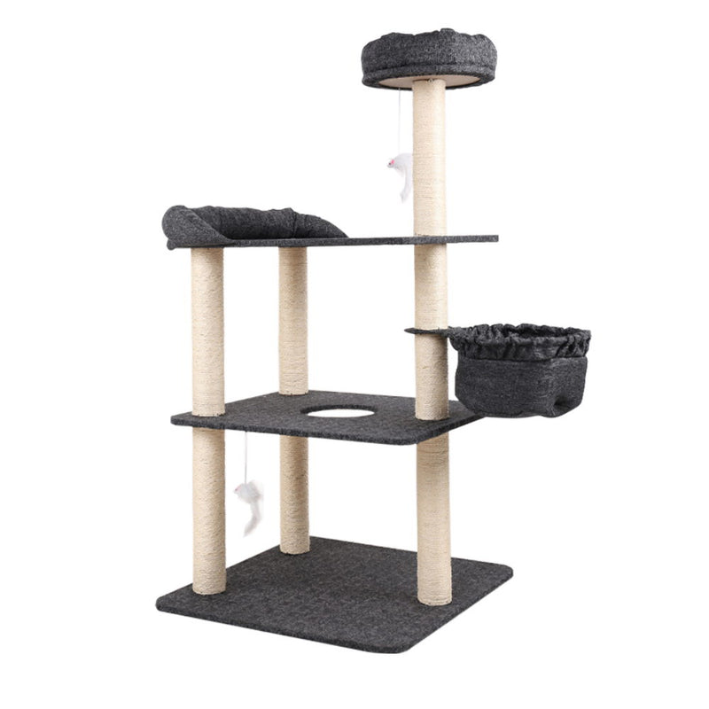 i.Pet 132cm Multi Level Cat Scratching Tree - Grey - Factory Direct Oz