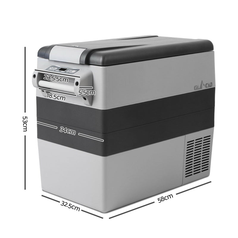 Glacio 55L Portable Cooler Fridge - Grey - Factory Direct Oz