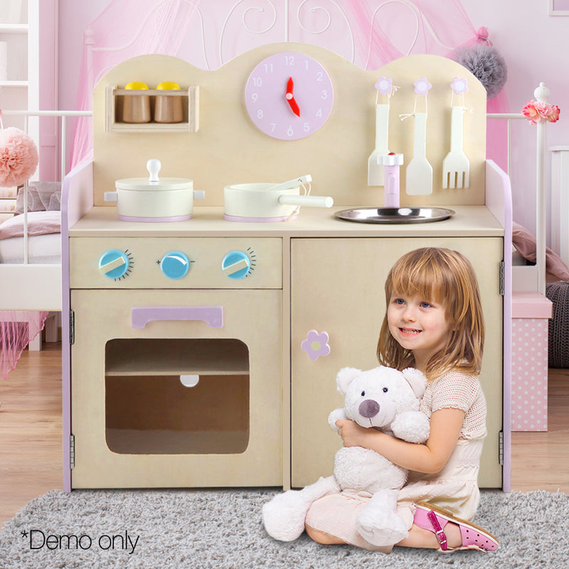 Kids Wooden Kitchen Play Set - Natural & Pink - Factory Direct Oz