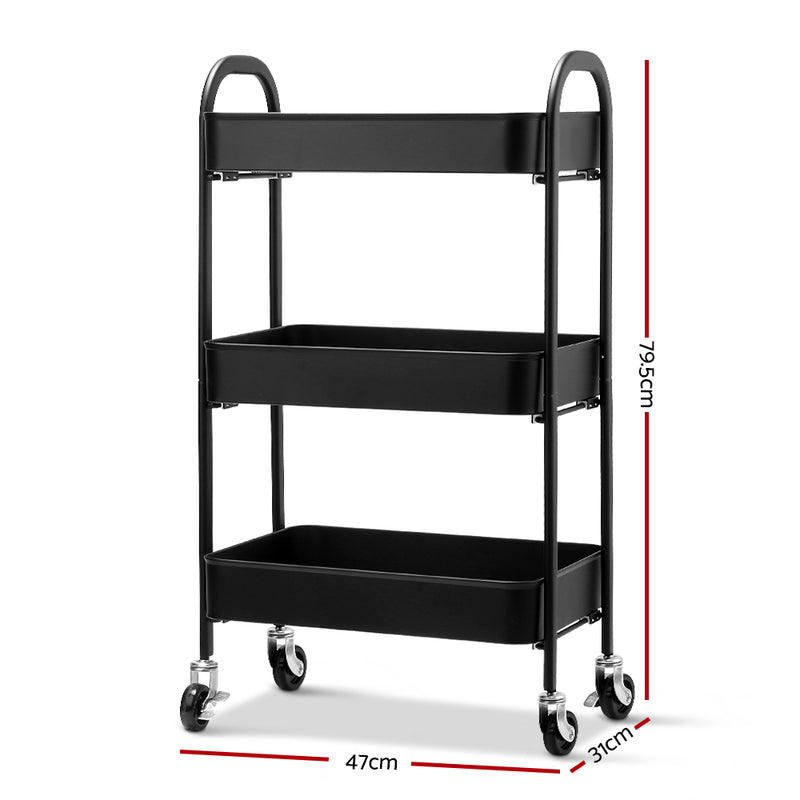 Artiss 3 Tier Kitchen Storage Cart - Black - Factory Direct Oz