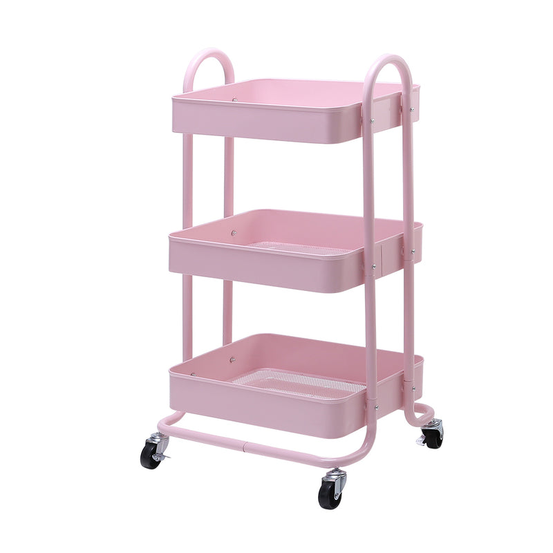 Artiss 3 Tier Rolling Storage Cart - Pink - Factory Direct Oz