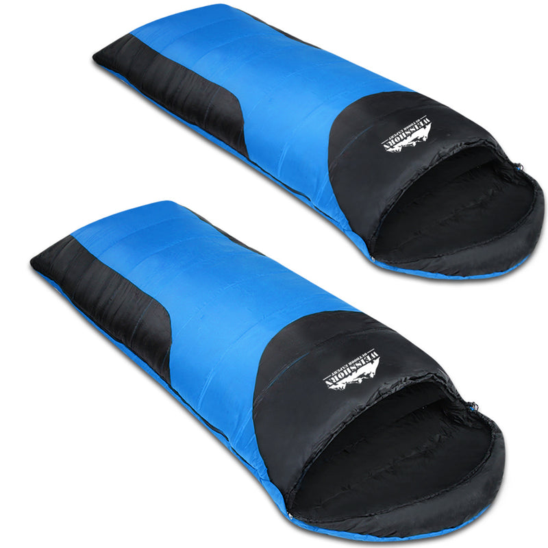 Twin Set Thermal Sleeping Bags - Blue & Black - Factory Direct Oz