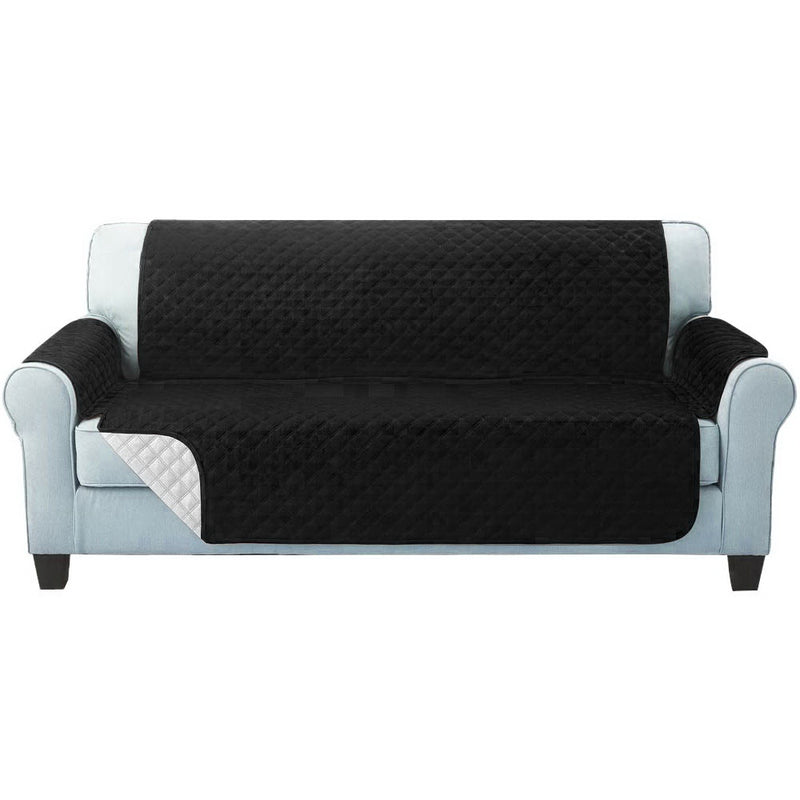 3 Seater Quilted Sofa Cover - Black - Factory Direct Oz