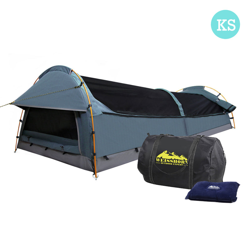 King Single Canvas Swag with Air Pillow - Navy - Factory Direct Oz