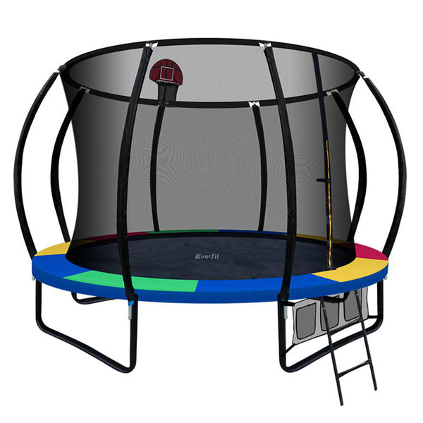 Everfit 10FT Trampoline With Basketball Hoop - Rainbow - Factory Direct Oz