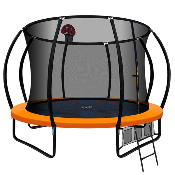 Everfit 10FT Trampoline With Basketball Hoop - Orange - Factory Direct Oz