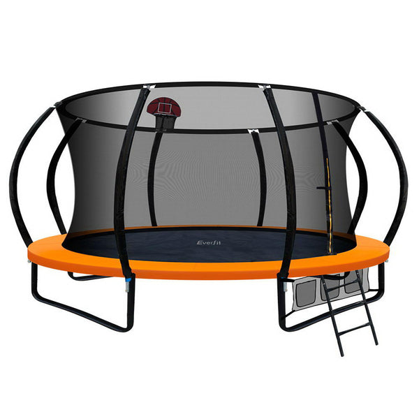 Everfit 14FT Trampoline With Basketball Hoop - Orange - Factory Direct Oz