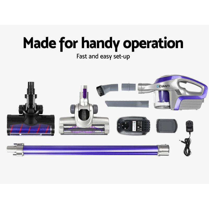 Devanti Cordless 150W Handstick Vacuum Cleaner - Purple and Grey - Factory Direct Oz