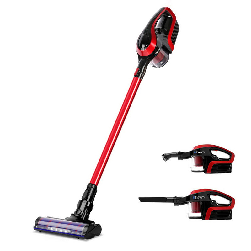 Devanti Cordless 150W Handstick Vacuum Cleaner - Red and Black - Factory Direct Oz