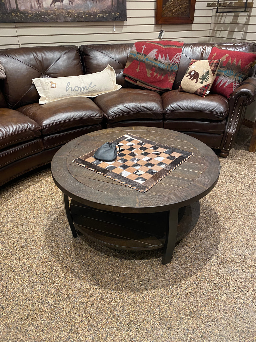 HOMESTEAD ROUND COFFEE TABLE-Rustic Ranch
