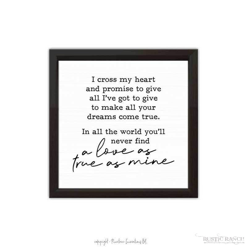 I CROSS MY HEART SIGN-Rustic Ranch