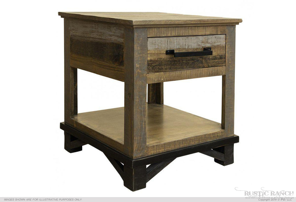 LOFT END TABLE-Rustic Ranch