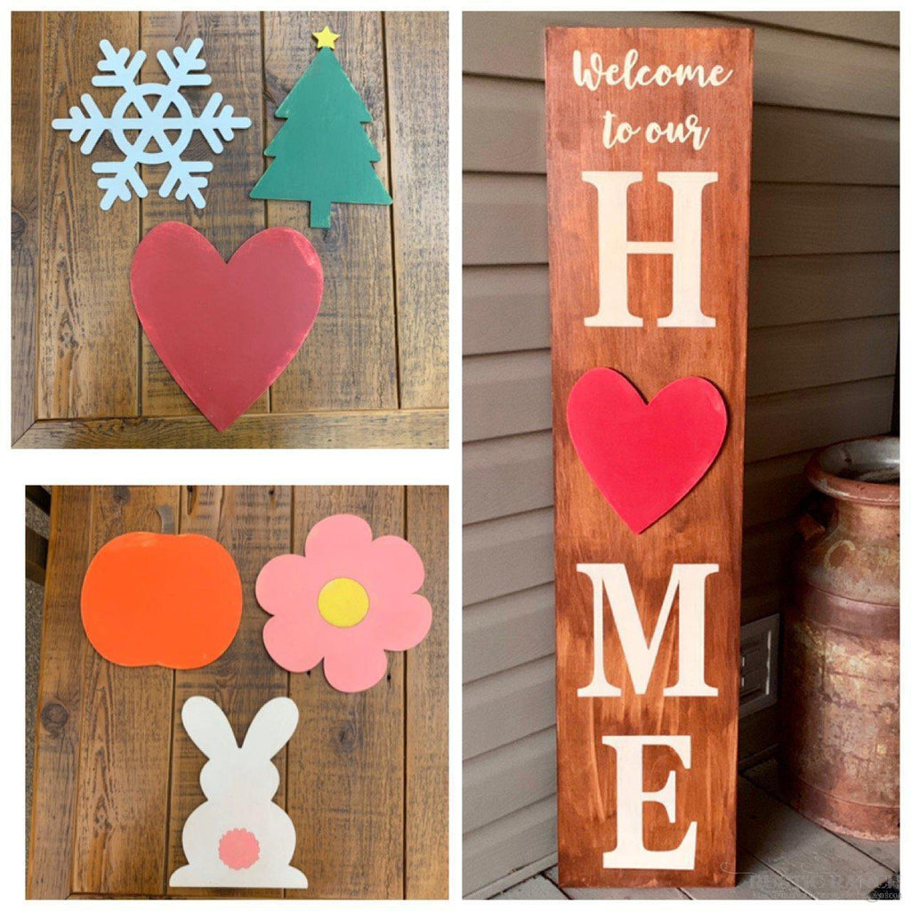SEASONAL WOODEN SHAPES - 6 IN A BUNDLE-Rustic Ranch