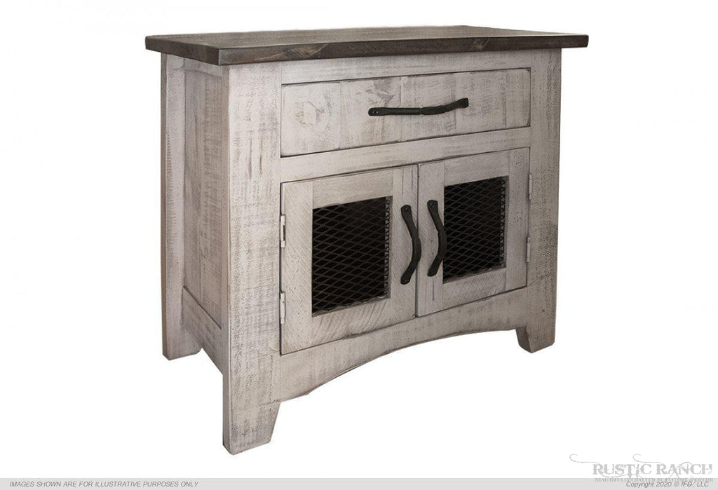 PUEBLO GRAY NIGHTSTAND-Rustic Ranch