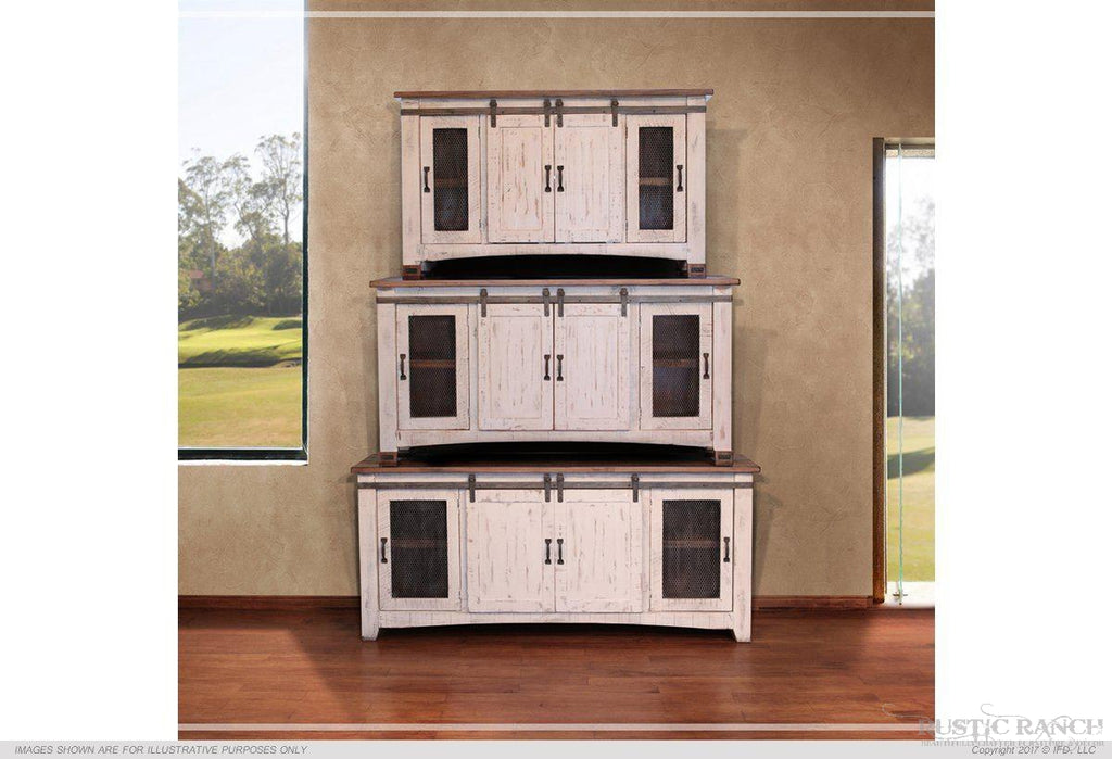 "PUEBLO WHITE 70"" TV Stand w/ 4 Doors-Rustic Ranch"