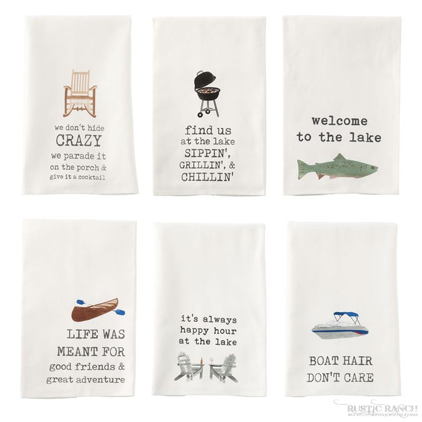 LAKE ICON DISH TOWEL - 6 ASST-Rustic Ranch