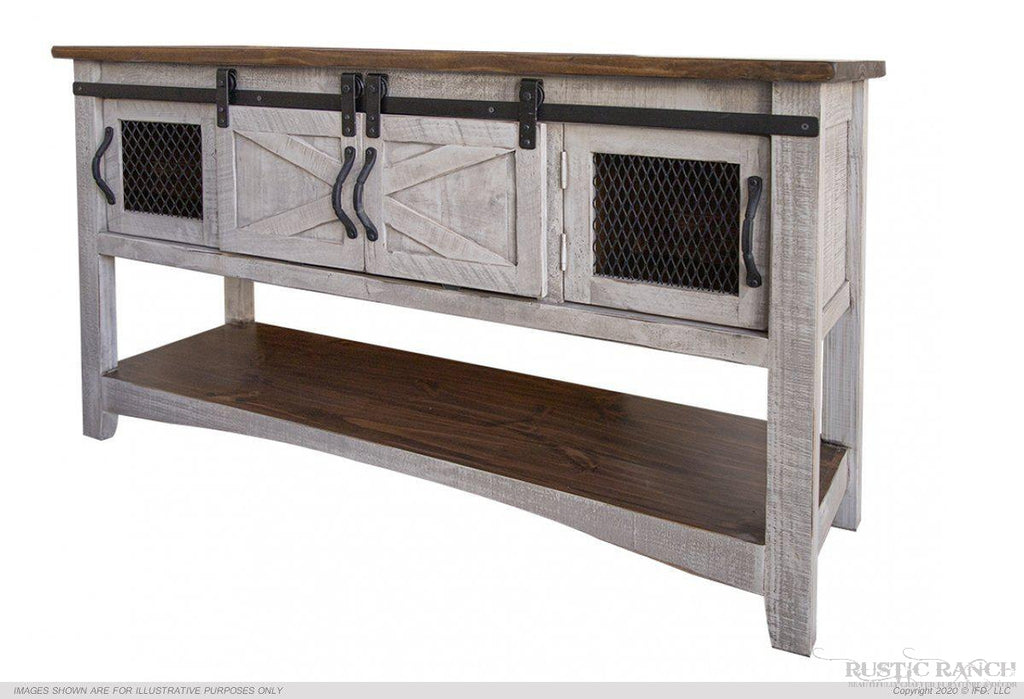 PUEBLO GRAY SOFA TABLE-Rustic Ranch