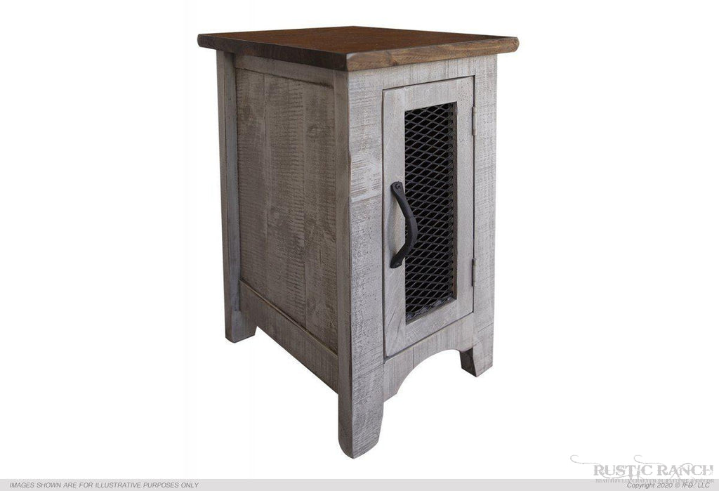 PUEBLO GRAY SIDE TABLE-Rustic Ranch